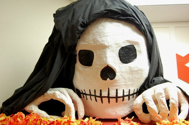 Giant paper-maché skull