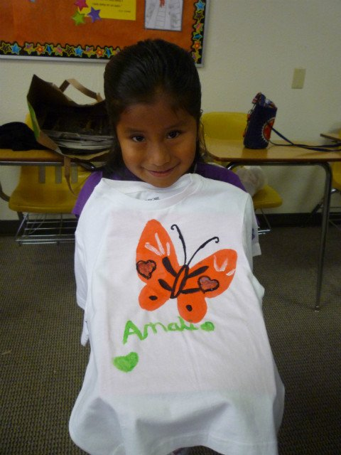 girl with butterfly T-shirt she made