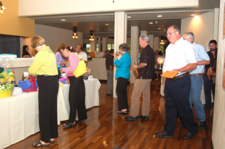 guests perusing the silent-auction items