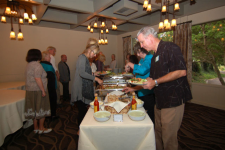 guests at the buffet table